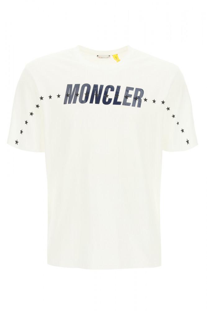 [KB국민카드5.0%할인~10/16][해외배송] MONCLER 남성 탑 Moncler x fragment 로고 티셔츠 with 스타 프린트 8C000 03 8392B 001 /9